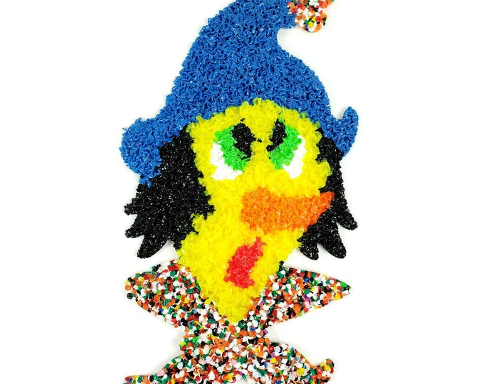 Vintage NOS Scarecrow Halloween Thanksgiving Melted Plastic Popcorn Decoration