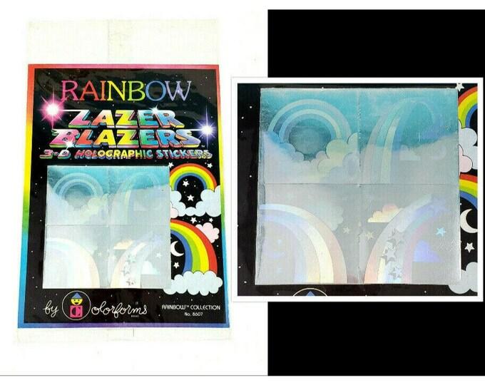 NOS Vintage 1980s RAINBOW 3-D Holographic Lazer Blazers Colorform Stickers #8607