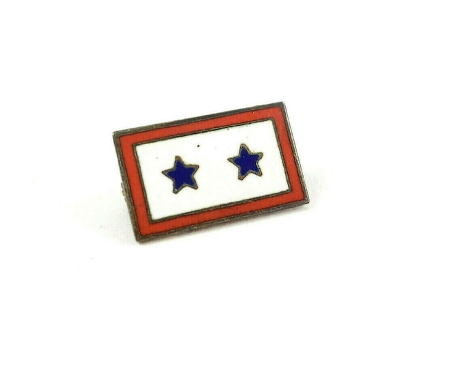 WWII Sterling Enamel 2 Star Son in Service US Homefront Mothers Lapel Pin
