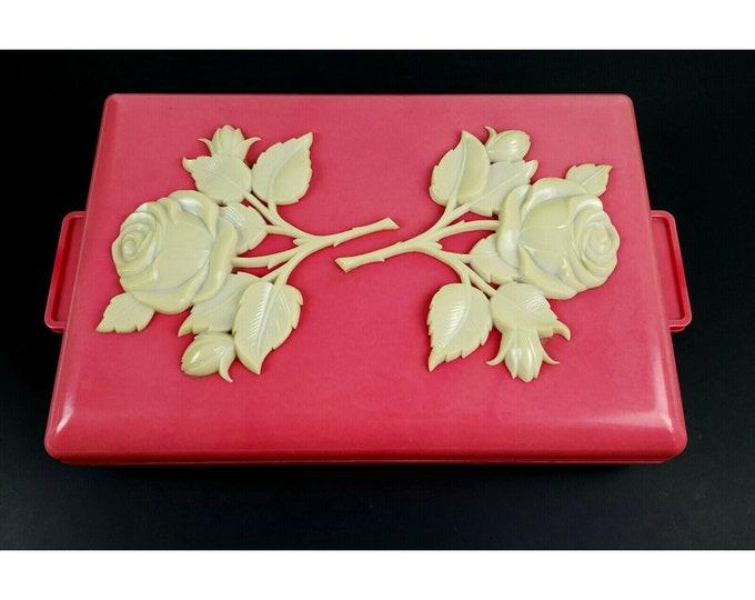 Mid Century Vintage Pink Plastic Rose Flower Jewelry Trinket Vanity Dresser Box