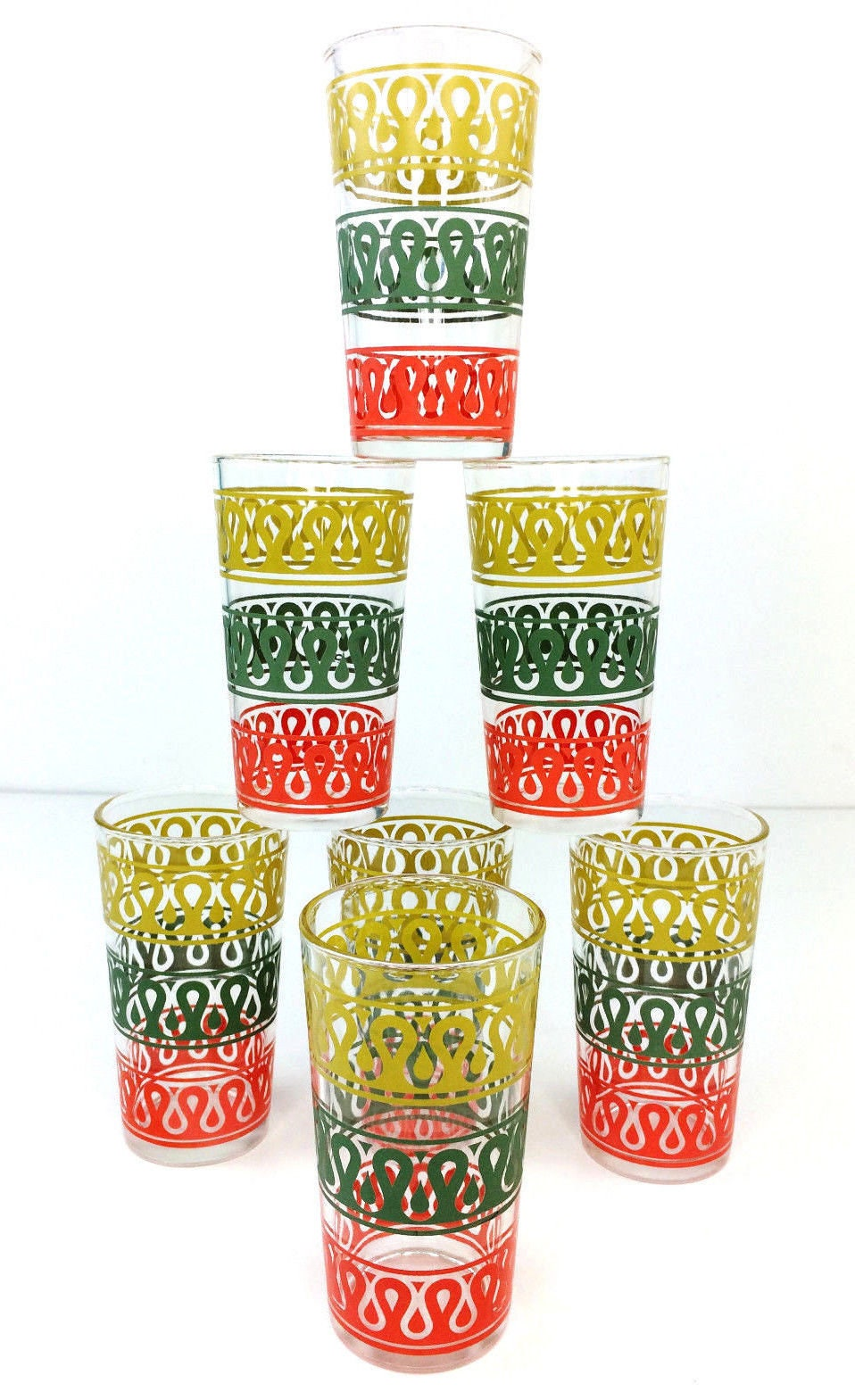 7 Vintage Mid Century Continental Can Company Yellow/Green/Red