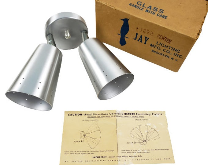 Mid Century Jay Lighting Brooklyn NY Atomic Silver Double Cone VTG Lamp Sconce