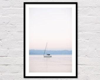 Boat Print, Lake Tahoe, Sail Boat, Sailing Print, Nautical Decor, Minimalist, Lake Art, Printable Wall Art, Lake Photo, Digital Download