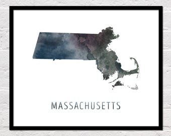Massachusetts Map Print, Massachusetts Art, Massachusetts Printable Wall Art, Watercolor Map, Massachusetts Poster, Massachusetts State Map