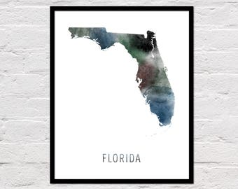 Florida Map Print, Printable Florida State Map, Florida Art Print, Florida Printable Wall Art, Watercolor Map, Florida Poster, Download