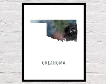 Oklahoma Map Print, Oklahoma Art Print, Oklahoma Printable, Wall Art, Watercolor Map, Oklahoma Poster, Printable State Map, Digital Download