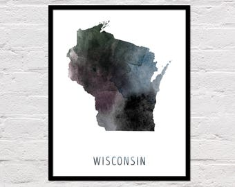 Wisconsin Map Print, Wisconsin State Print, Wisconsin Art Print, Wisconsin Wall Art, Wisconsin Printable, Watercolor Map, Digital Download