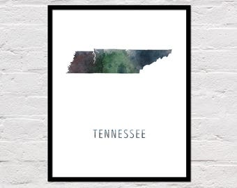 Tennessee Map Art Print, Tennessee Art Print, Tennessee Printable, Wall Art, Watercolor Map, Tennessee Poster, Printable State Map, Download