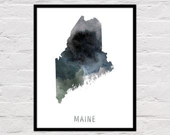Maine Map Print, Printable Maine State Map, Maine Art Print, Maine Printable Wall Art, Watercolor Map, Maine Poster, Digital Download