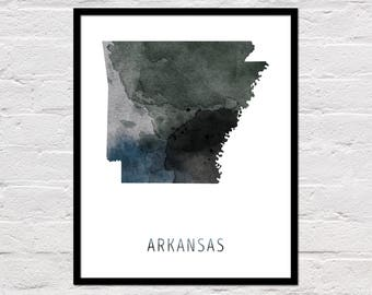 Arkansas Map Print, Printable Arkansas State Map, Arkansas Art Print, Arkansas Printable Wall Art, Watercolor Map, Arkansas Poster, Download