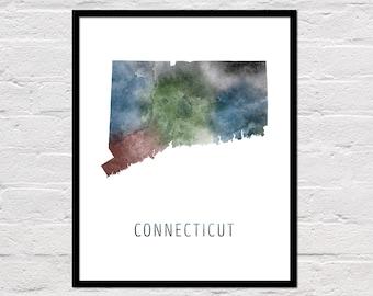 Connecticut Map Print, Printable Connecticut State Map, Connecticut Art Print, Connecticut Wall Art, Watercolor Map, Connecticut Poster