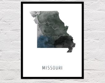 Missouri Map Print, Missouri Art Print, Missouri Printable Wall Art, Watercolor Map, Missouri Poster, Printable Missouri State Map, Download