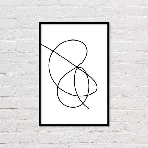 Ongekend Zwart / wit lijn tekening druklijnen kunst moderne Poster | Etsy BZ-97