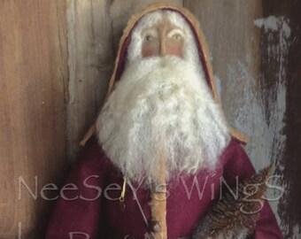 NeeSeY's WiNgS, Primitive Folkart Old World OOAK Handmade Santa, Soft Sculpture, Belsnickle German Style,Father Christmas, St.Nicholas