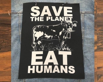Save The Planet Back Patch, Vegan Patch, Friends Not Food, Vegetarian Patch, Animal Rights Patch, Funny Patch, Vegan Gift, Punk Patch