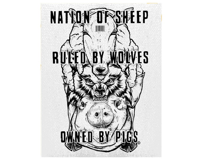 Nation Of Sheep, Capitalism Patch, Money Is Greed Patch, Anti Establishment Patch, Resist Large Patch, Guy Faux, Large Back Patch, Enough
