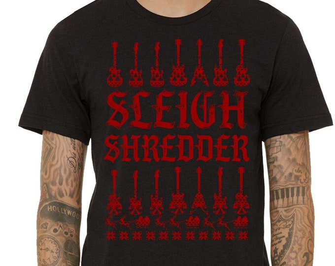 Christmas Guitar Shirt, Sleigh Shredder Tshirt, Christmas Shirt, Xmas Shirt, Christmas Gift, Christmas Music Shirt, Christmas Guitar Player