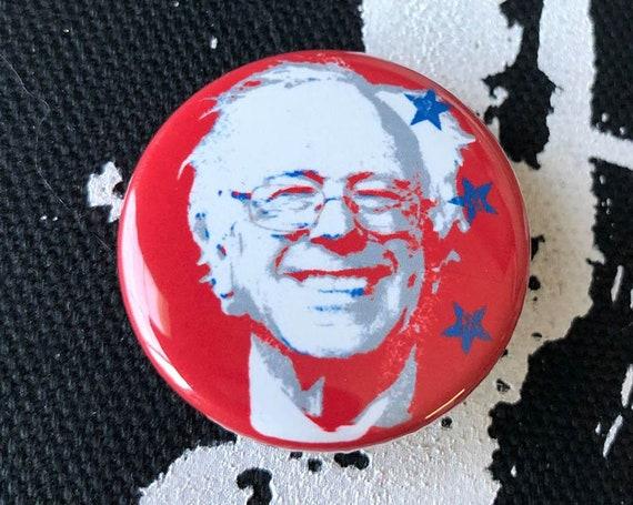 Bernie Sanders 2020 Button, Bernie Sanders Star Button, Feel The Bern Button, Anti-Trump Button Gift For Him
