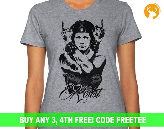 Anti Trump | Wonder Woman Resist T Shirt | The Resistance | Resist Shirt | Feel the Bern | Political Shirt | Girl Power |