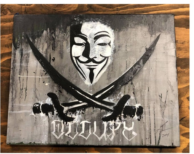 Guy Fawkes Painting, V For Vendetta Wall Art, Guy Fawkes Mask Painting, Anonymous Wall Art, Halloween Decoration, Revolution Wall Art