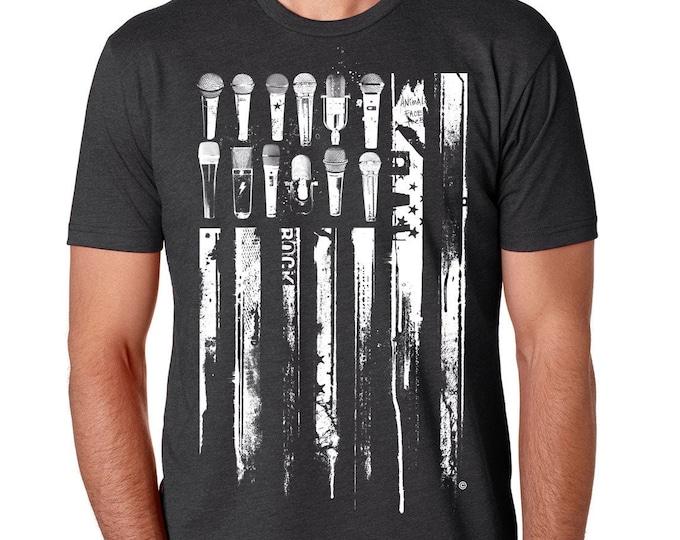 Musician Microphone Flag Shirt | Patriotic Guitar Flag T Shirt |  United States Flag Shirt | Music Lover Gift | Musician Gift | Singers Gift