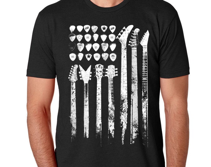 Guitar Flag Shirt | Patriotic Guitar Flag T Shirt | Music Lover's Shirt | United States Flag Shirt | Music Lover Gift | Musician Gift