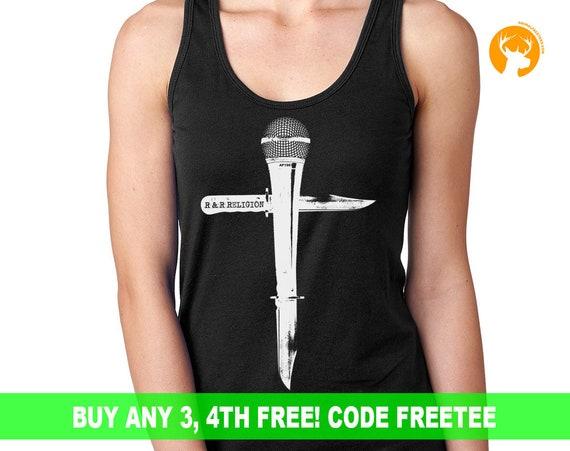 Singers Music Tee, Microphone Shirt, Musicians Tee, Singers Gift, Heavy Metal T- Shirt l Ladies Gift