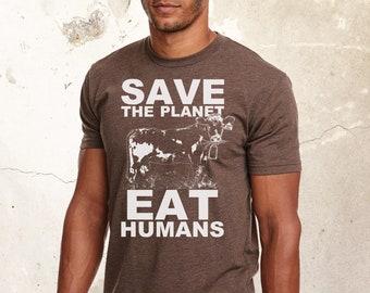 Vegan Shirt, Men Shirt, Graphic Shirt, Save The Planet Shirt, Eat Humans Shirt, Friends Not Food, Veganism Shirt,, Animal Lover Shirt