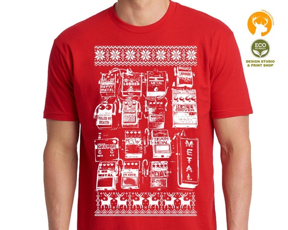 Christmas Guitar Pedals T Shirt | Christmas Gifts Women Mens Ladies | Guitar Player Shirt | Music Lover Gift | Music Teacher Gift