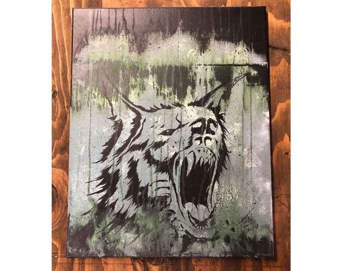 Cry Wolf Canvas Painting, Acrylic Painting, Original Painting, Wolf Wall Art, Abstract Drawing, Wolf Art Work, Punk Wall Art, Wolverine