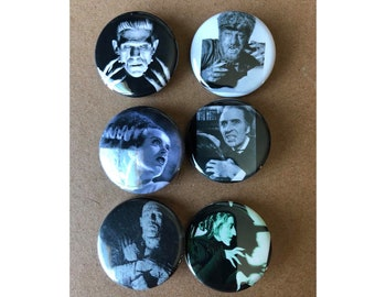 Scary Monster Button, Frankenstein Button, Halloween costumes, Vintage buttons, Horror Movie Buttons