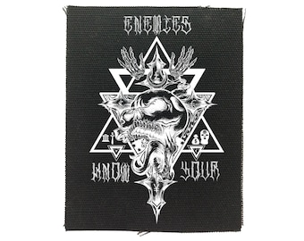 Know Your Enemies Cloth Back Patch, Skull Back Patch, Raw Edge Patch, Political Patches, Protest Patches, Black Skull Canvas Back Patch