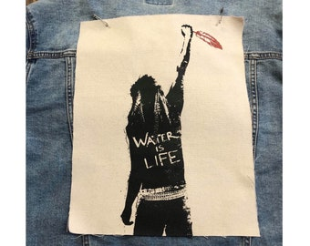 Water Is Life Back Patch, Protest Patch, Denim Jacket Patch, Support Water Protectors, Canvas Back Patch, Standing Rock Patch, Ocean Patch