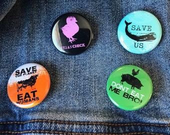 Vegan Buttons Set   Vegan Buttons   Animal Lover Buttons   Vegetarian Buttons   Vegan Gift   Funny Vegan Buttons   Animal Rights Buttons