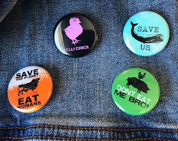 Vegan Buttons Set | Vegan Buttons | Animal Lover Buttons | Vegetarian Buttons | Vegan Gift | Funny Vegan Buttons | Animal Rights Buttons