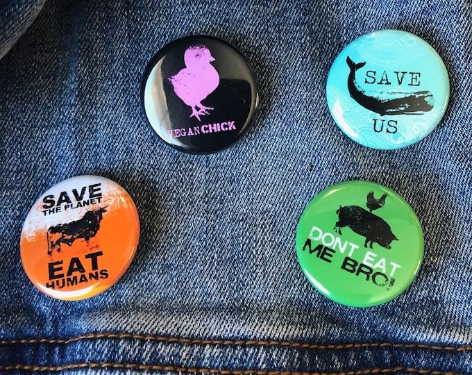 Vegan Buttons Set | Vegan Buttons | Animal Lover Buttons | Vegetarian Buttons | Vegan Gift | Funny Vegan Buttons | Animal Rights Buttons