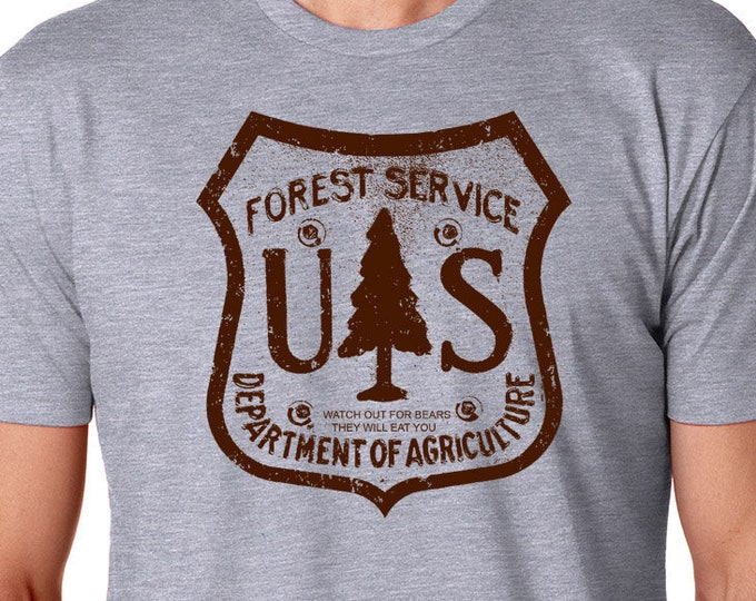 Unisex graphic tee, Forest Shirt, US Forest Shirt, Screen Printed T Shirt - Nature TShirt, Outdoors Gift, Camping T- Shirt