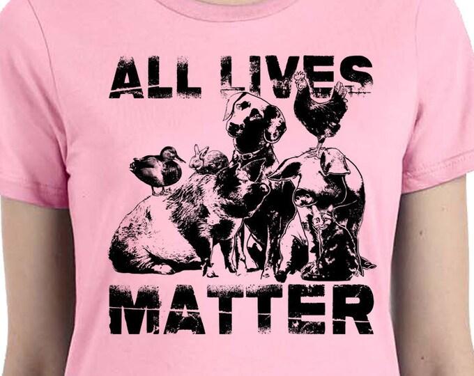 Animal Lover Shirt | All Lives Matters Animal Rights | Vegan T Shirt | Animal Lover Shirt | Vegetarian Shirt | Vegan Gift | Rooster Shirt