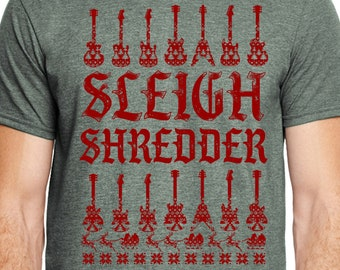 Christmas Guitar Shirt, Sleigh Shredder Tshirt, Christmas Shirt, Xmas Shirt, Christmas Gift, Christmas Music Shirt, Christmas Guitar Player