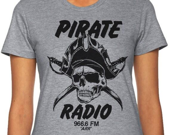 Pirate Radio Skull T-Shirt, Mens Pirate T Shirt, Woman's Skull Shirt, Pirate Skull T Shirt, Radio Tee Shirt, Musician Gift