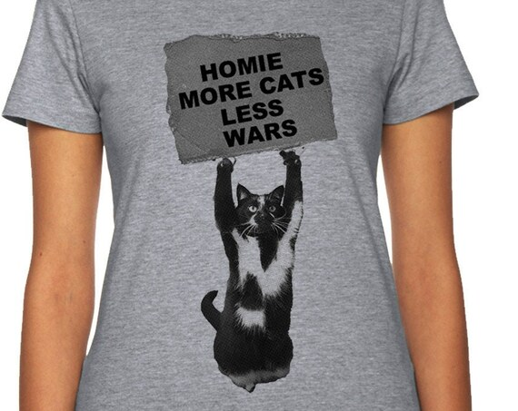 Cat Shirt Cute Shirt Cat Tee Men Women Ladies Funny Present I Love Cats Animal Lover T-shirt No Wars