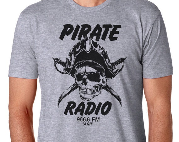 Pirate Radio Skull T-Shirt, Mens Pirate T Shirt, Woman's Skull Shirt, Pirate Skull T Shirt, Radio Tee Shirt, Musician Gift