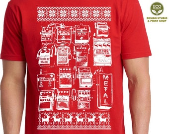 Christmas Guitar Pedals Shirt, Christmas Men Shirt, Holiday Shirt, Music Lover Shirt, Guitar Gift For Men, Ugly Christmas Shirt,Guitar Pedal