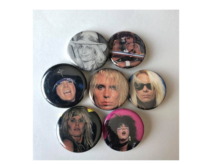 Motley Crue Gift, 80's buttons, Band Button, 80's Heavy Metal Button, Rock & Roll Button