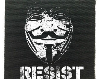 Guy Fawkes Resist Protest Patch, Guy Fawkes Punk Patch, Resistance Patch, Denim Jacket Patch