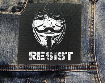 Guy Fawkes Resist Protest Patch, Guy Fawkes Punk Patch, Resistance Patch, Denim Jacket Patch, V For Vendetta Patch, Political Patch Cloth