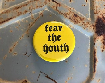 Fear The Youth  Protest Button, Feminist Gift, Yellow Vest, Resist Button, Nation Of Sheep, Yellow Vest