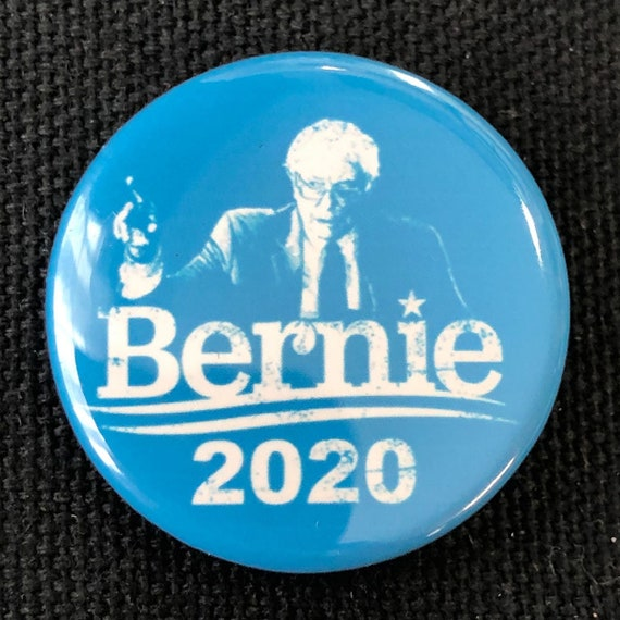 Bernie Sanders 2020 For President Colored Button, Feel The Burn, Liberal Buttons, Anti-Trump