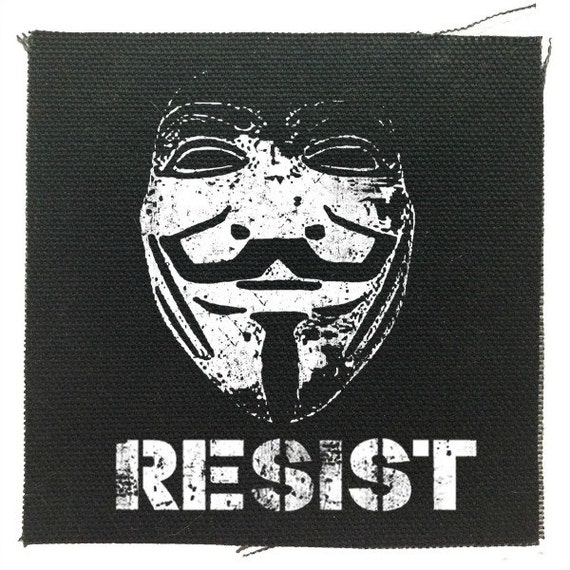 Guy Fawkes Resist Protest Patch, Guy Fawkes Punk Patch