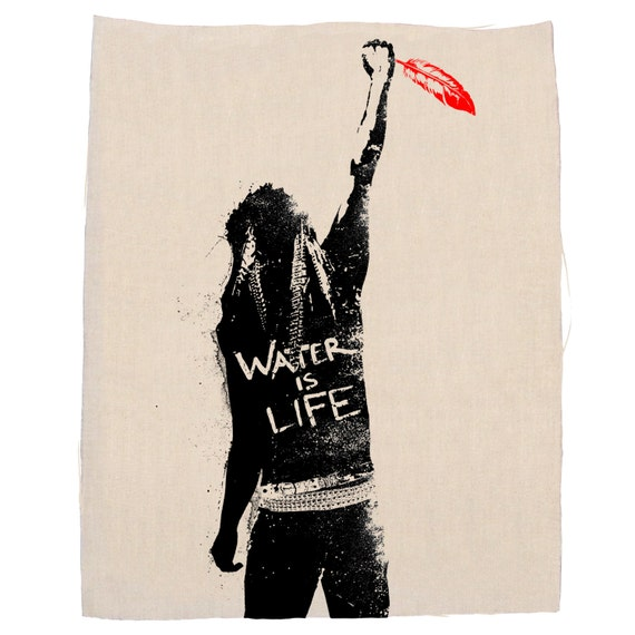 Stand Up Water Is Life Back Patch, Protest Patch, Denim Jacket Patch, Support Water Protectors, Canvas Back Patch